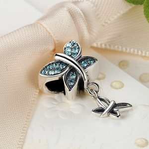 Sterling Silver Blue Butterflies Charm