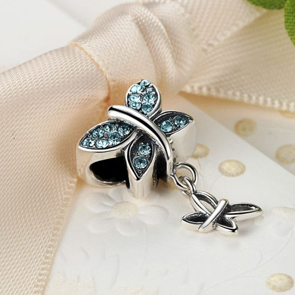 Sterling Silver Blue Butterflies Charm
