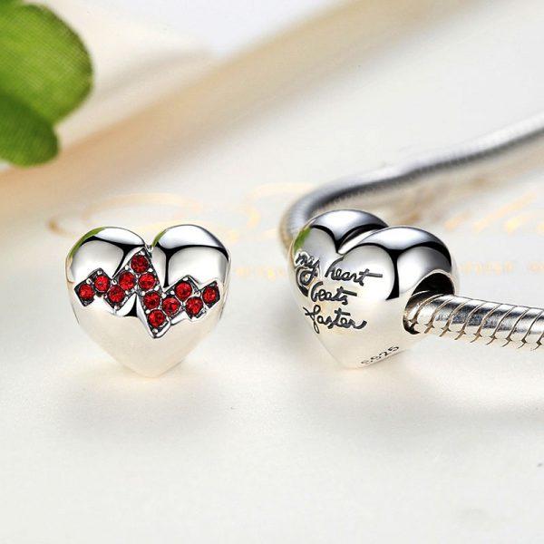 Sterling Silver Heartbeat Charm