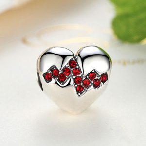 Sterling Silver Heartbeat Charm