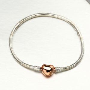 Gold Heart Silver Bracelet