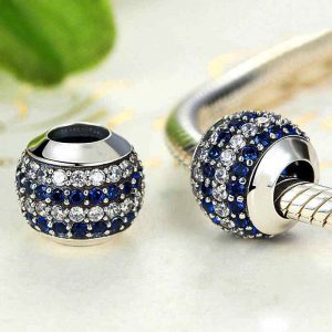 Blue & White Bauble Sterling Silver Charm