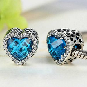 Blue Diamond Heart Sterling Silver Charm