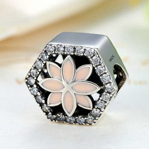 Sterling Silver Flower Cube Charm