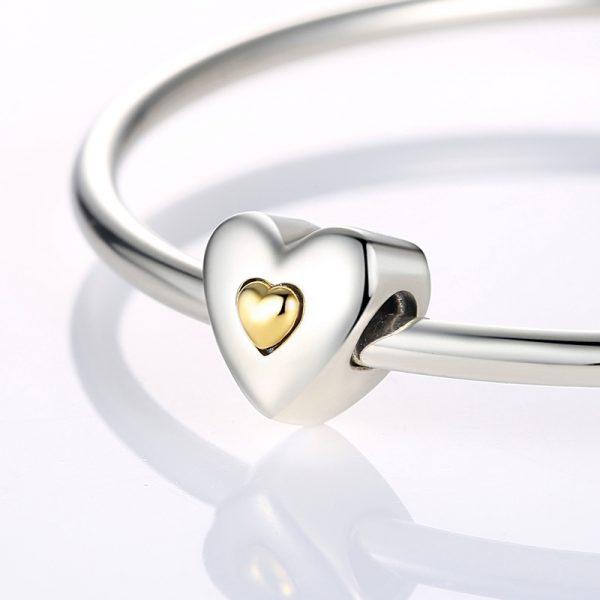 Sterling Silver Heart In Heart Charm