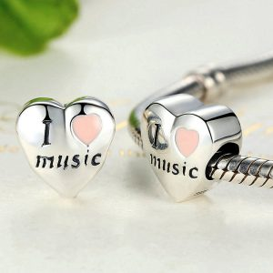 I Love Music Sterling Silver Charm