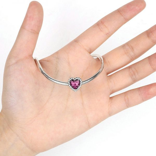 Pink Diamond Heart Sterling Silver Charm
