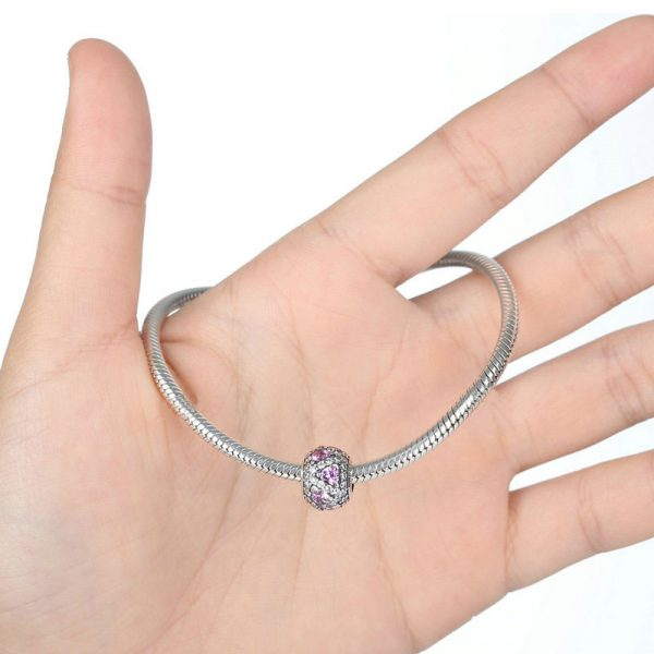 Sterling Silver Pink Hearts Charm