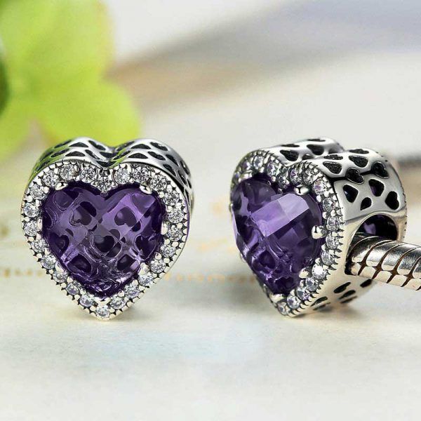 Purple Diamond Heart Charm