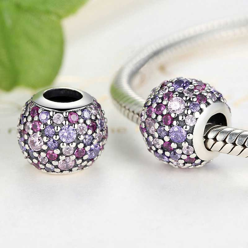 Sterling Silver Purple Shadows Ball Charm
